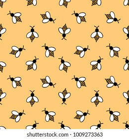 bee seamless doodle pattern