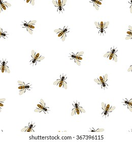 Bee seamless pattern. Black and orange silhouette of the Flying insect. Minimalism and simplicity of design. Vector illustration.