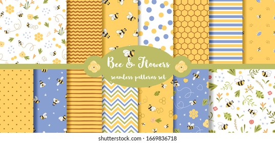 Bee seamless pattern collection. Summer background set. Yellow cute print with bee, flower, honey, geometric lines, polka dot, zigzag ornament. Hand drawn fabric graphic design. Vector illustration.