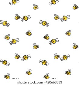 bee seamless pattern. honey vector. bee illustration.