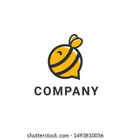 Bee talk logo of communication with the shape of bee insects. Chatting and discussion logo template