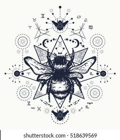 Bee tattoo art. Hand drawn  sketch of bumblebee mystical symbols