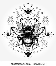 Bee tattoo art. Hand drawn sketch of bumblebee, mystical and esoteric  symbols