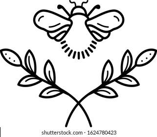 Bee tattoo line art icon