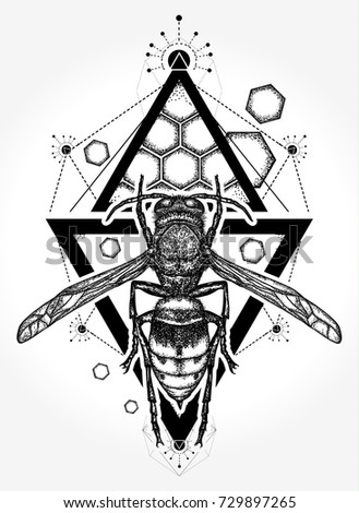 Bee Tattoo T Shirt Design Symbol Stock Vektorgrafik Lizenzfrei