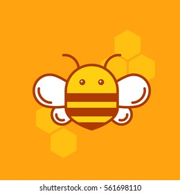 Bee thin lined icon. Bumblebee logotype template  with outlines and honeycombs for organic products company, business branding or web design.