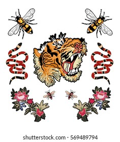 bee tiger snake tiger and flowers patch illustration