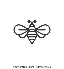 Bee vector icon. Honey,insect symbol flat vector sign isolated on white background. Simple vector illustration for graphic and web design.