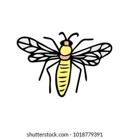 Bee vector illustration. Doodle style. Design, print, decor, textile, paper
