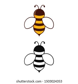 Bee vector logo design template. Bee icon isolated on white background. Honey flying bee. Insect. Flat style vector illustration.