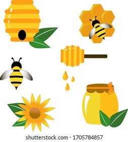 Bee wasp honey in flat style. Vector illustration icon. Cartoon vector illustration on white background.