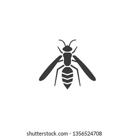 Bee, wasp icon vector, filled flat sign, solid pictogram isolated on white. Symbol, logo illustration - Vector
