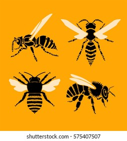 Bee and Wasp, vector illustration