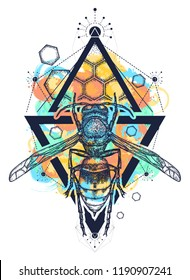 Bee watercolor splashes style tattoo and t shirt design. Symbol of freedom, flight. Wasp hand drawn vector