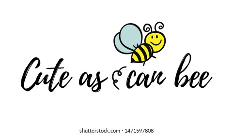 Bee well soon phrase with doodle bee on white background. Lettering poster, card design or t-shirt, textile print. Inspiring creative motivation quote placard.