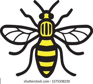 Bee as yellow, black and white icon can be used as a logo of Manchester city