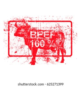 beef 100 per cent - red rubber grungy stamp in rectangular with dirty background vector illustration