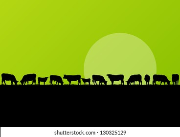 Beef cattle and milk cow herd in countryside field landscape illustration background vector