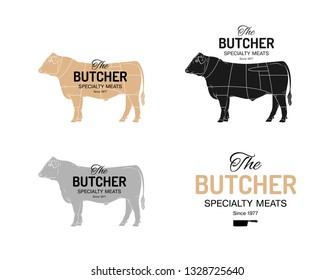Beef cow butcher meat shop logotype or sign. Calf bull Angus isolated on white background. Cattle logo. Butchery sign. Farm symbol. Poultry. Black and white emblem, symbol, silhouette. Stamp. Vector