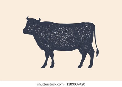 Beef, cow. Vintage logo, retro print, poster for Butchery meat shop, cow silhouette. Logo template for meat business, meat shop. Vector Illustration