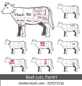 Beef cuts for butcher shop poster and label