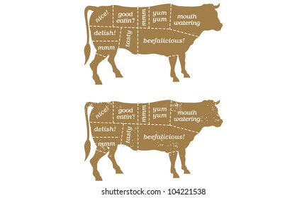 Beef Cuts Butcher's Chart Barbecue Illustration. Includes clean and grunge versions.