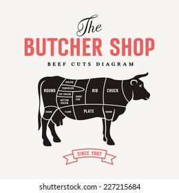Beef cuts diagram, vector illustration for your design
