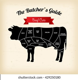 Beef cuts vector illustration