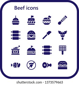 beef icon set. 16 filled beef icons.  Simple modern icons about  - Burger, Spatula, Ribs, Hamburger, Sausage, Grinder, Grill, Salami, No fast food, Meat