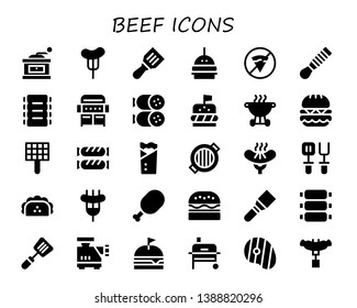 beef icon set. 30 filled beef icons.  Simple modern icons about  - Grinder, Sausage, Spatula, Burger, No fast food, Ribs, Grill, Salami, Bbq, Kebab, Taco, Meat, Meat grinder, Steak