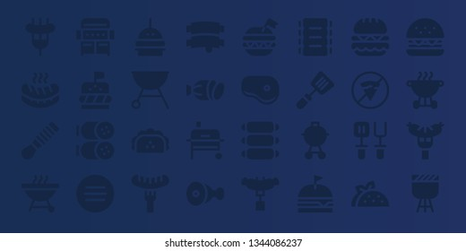 beef icon set. 32 filled beef icons. on blue background style Simple modern icons about  - Sausage, Spatula, Barbecue, Grill, Burger, Salami, Meat, Taco, Ribs, Steak, No fast food