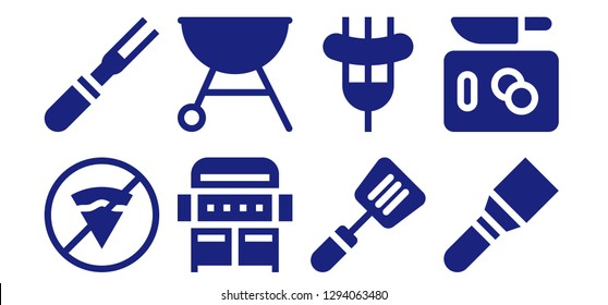 beef icon set. 8 filled beef icons. Simple modern icons about  - No fast food, Meat, Grill, Spatula, Sausage, Chop