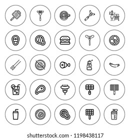 Beef icon set. collection of 25 outline beef icons with bbq grill, barbecue, drink, hamburguer, grill, grinder, meat, no fast food, sausage icons. editable icons.