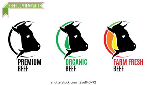 Beef Logo, Trade Sign, Icon Template