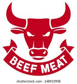 beef meat label (bull head)