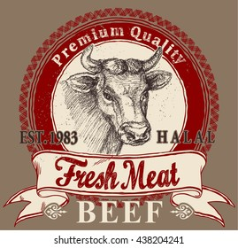 Beef meat label with sketch vector