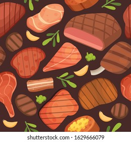Beef meat steaks, grill menu for restaurant, barbecue and meat food seamless pattern, vector illustration. Cartoon ham, beef steaks, grilled meat with chop on dark background.