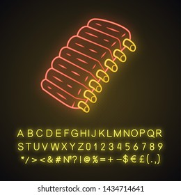 Beef ribs neon light icon. BBQ lamb, pork baby-back ribs on bone. Meat, farm food. Butcher shop product. Restaurant menu. Glowing sign with alphabet, numbers and symbols. Vector isolated illustration