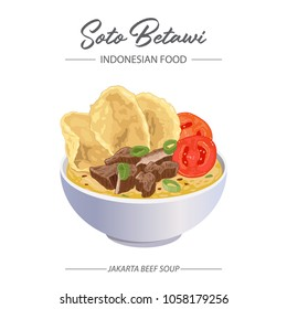 Beef Soup Soto Betawi. The Indonesian Food from Jakarta Indonesia.