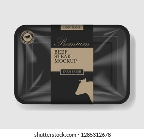 Beef steak packaging. Plastic tray container with cellophane cover. Mockup template for your meat design. Plastic food container. Vector illustration.