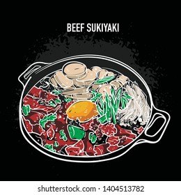 Beef Sukiyaki hot pot vector