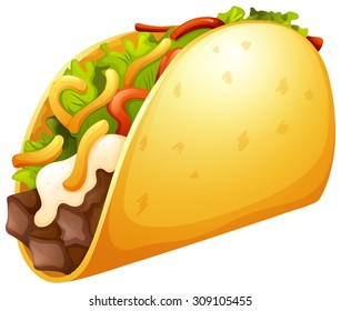 Beef taco with vegetables illustration