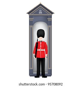 Beefeater soldier in guardhouse-London-symbols-very detailed iso