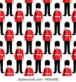 Beefeater soldier seamless vector pattern -  London Symbol - Very detailed, isolated illustration - White background