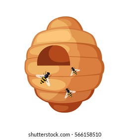 Beehive With Bees Flying Around Cartoon Illustration