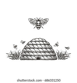 Beehive and bees.Hand drawn engraving style illustrations.