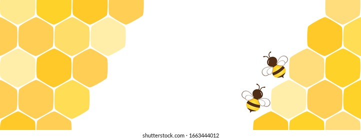 Beehive with hexagon grid cells and cartoon bees isolated on white background vector illustration.