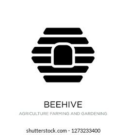 beehive icon vector on white background, beehive trendy filled icons from Agriculture farming and gardening collection, beehive simple element illustration