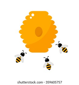 Beehive isolated icon on white background. Beehive with honey bees. Apiary farm. Flat style vector illustration.