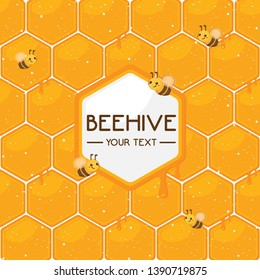 Beehive template with little bee. Beehive background.